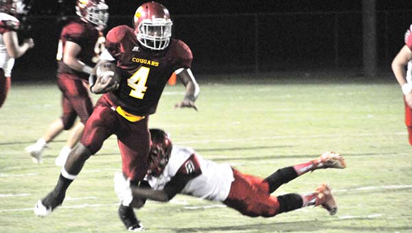 Escambia Academy's Louie Turner scored three touchdowns for the Cougars tonight.   Andrew Garner/Atmore Advance