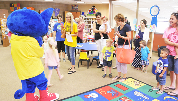 Pete the Cat entertained and made children excited about reading last week. | Andrew Garner/Atmore Advance