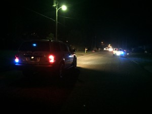 Shown are Atmore patrol vehicles on 4th Avenue earlier this evening, where an Atmore man was captured after fleeing from law enforcement. | Andrew Garner/Atmore Advance