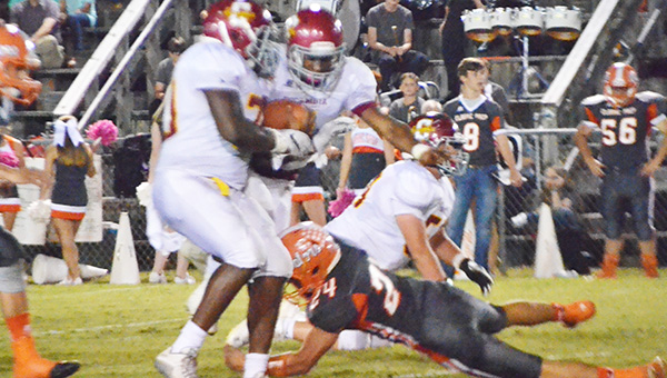 Escambia Academy's Louie Turner (center) accounted for three touchdowns tonight. | Andrew Garner/Atmore Advance