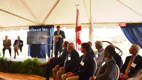 Creek Indian Enterprises Development Authority President Tim Martin speaks during the unveiling today.   Andrew Garner/Atmore Advance