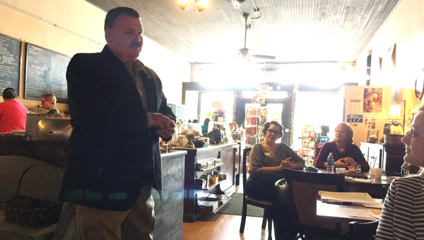 ECSO Chief Deputy Mike Lambert talks business safety Thursday morning at The Coffee House. photo by Blake Bell/Atmore Advance